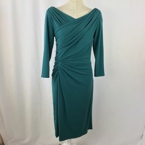 Tadashi Teal Green Dress Small 4 6 bodycon Stretch